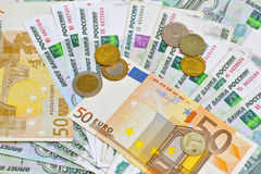 Rouble russe contre Euro Images libres de droits