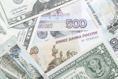 Rouble russe et dollar US Photo stock