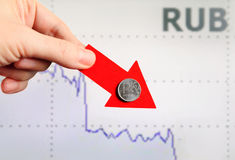 Rouble russe vers le bas Photos stock