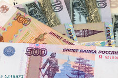 Rouble - a Russian currency. Banknotes Stock Photo
