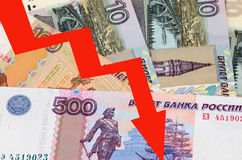 Rouble - a Russian currency FALLING. Rouble - a Russian currency banknotes, economy FALLING Royalty Free Stock Image