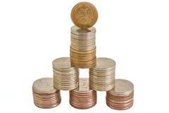 Roubles d'argent de pièces de monnaie dans la pile photographie stock libre de droits