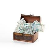 Roubles de beaucoup d'argent de Russe dans le coffre Photographie stock libre de droits