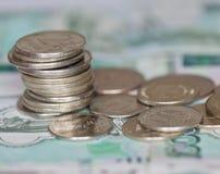 Roubles de pièces de monnaie Images libres de droits