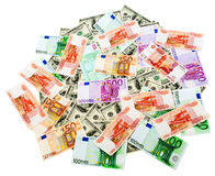 Roubles, dollars and euros background Stock Photos