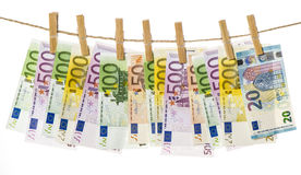 5000 roubles för modell för bakgrundsbillspengar Hänga för eurosedlar Arkivbild