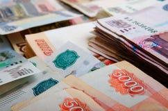 Roubles russes d'argent liquide Photo stock