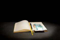 Roubles russes dans le livre Image stock