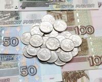 Roubles russes de pièce de monnaie Photo stock