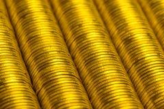 Roubles russes de pile de fond de pièces d'or en métal Photographie stock