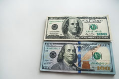 Roubles russes et dollars américains Images stock