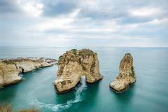 Beirut Rouche rocks Lebanon stock photo