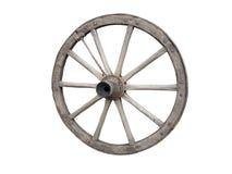 Roue antique de chariot faite de bois et fer-rayée, d'isolement Photographie stock