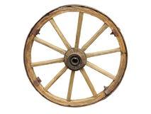 Roue antique de chariot faite en en bois et bordé de fer d'isolement Images stock