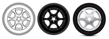 Roue avec le pneu illustration de vecteur