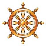 Roue d'or de Dharma Symbole de religion de bouddhisme Images libres de droits