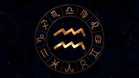 Roue d'or de spinnig d'horoscope de zodiaque avec le signe d'Eau-porteur de Verseau illustration stock