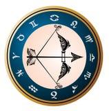 Roue d'or de zodiaque avec le signe du Sagittaire Images stock
