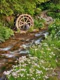 Roue d'eau rustique sur le flot scénique Image libre de droits