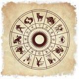 Roue d'horoscope des signes de zodiaque illustration de vecteur