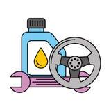 Roue d'huile de gallon et arracher le service des v?hicules ? moteur illustration de vecteur