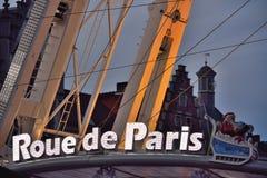 Roue de巴黎(轮渡轮子)在跟特,圣诞节 库存图片