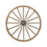 Roue de chariot en bois de cru d'isolement. Photo stock