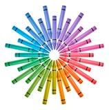 Roue de couleur colorée de crayons Photographie stock libre de droits