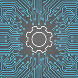 Roue de dent au-dessus de bannière de concept de système de centre de Chip Moterboard Background Network Data d'ordinateur illustration stock
