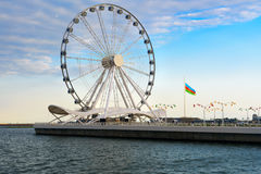 Roue de ferris de Bakou, oeil de Baky Photo stock