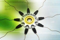 roue de la dent 3d avec le câble se reliant Photographie stock