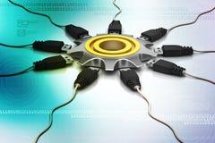 roue de la dent 3d avec le câble se reliant Images libres de droits