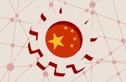 roue de la dent 3D avec le drapeau de la Chine Photos stock