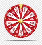 Roue de la fortune rouge d'isolement sur le fond transparent Jeu de chance de loterie de casino Roulette de roue de fortune de vi Image stock