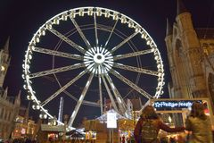 Roue de paris ferry wheel in Ghent, Christmas Stock Photo