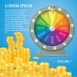 Roue de rotation de fortune Concept de jeu, gros lot de victoire dans l'illustration de casino Photos libres de droits