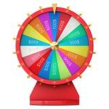 Roue de rotation réaliste de fortune, roulette chanceuse Roue colorée de la chance ou de la fortune Fortune de roue d'isolement s Image stock