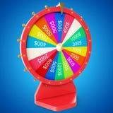 Roue de rotation réaliste de fortune, roulette chanceuse Roue colorée de la chance ou de la fortune Fortune de roue d'isolement s Photo stock