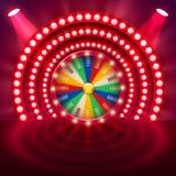 Roue de rotation réaliste de la fortune 3d Roulette chanceuse Photo libre de droits