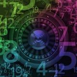 Roue de roulette tournant dans le casino avec des nombres aléatoires Photographie stock libre de droits