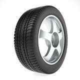 Roue de voiture avec le pneu d'hiver Photo stock
