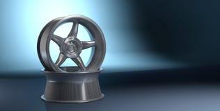 roue de voiture du rendu 3D sur le fond bleu-foncé illustration libre de droits