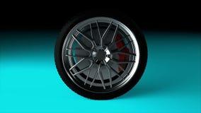 Roue de voiture moderne et brillante sur la surface, objet élégant, contexte généré par ordinateur du rendu 3d clips vidéos