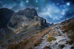 Roue de zodiaque sur le ciel extérieur photographie stock