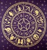 Roue des symboles de zodiaque image libre de droits