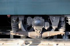 Roue et ressorts d'une fin locomotive  image stock
