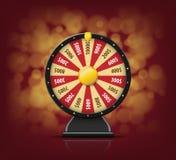 Roue noire de fortune avec sur le fond de bokeh pour le casino en ligne, tisonnier, roulette, machines à sous, jeux de carte 3d r Images libres de droits