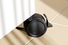 Roue noire en plastique d'armoire de télécommunication image stock