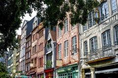 Rouen - экстерьер стародедовских домов Стоковое Изображение RF