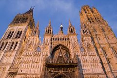 Rouen Cathedral, France. Ornate architectural detail on wide angle shot of Rouen Cathedral, Normandy, France Royalty Free Stock Image